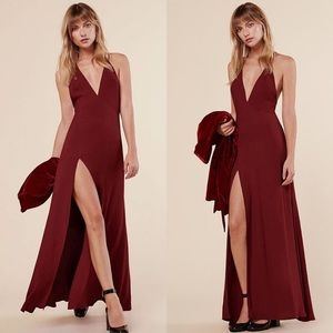 Reformation Estelle Cross-Back Front Slit Dress
